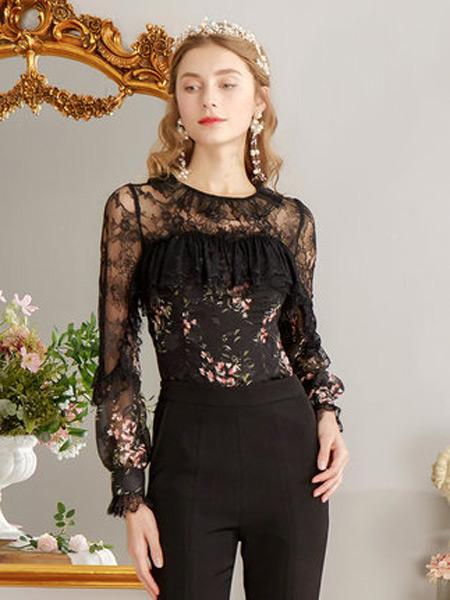 花儿开了女装品牌2019春夏新款黑色公主风洋气小衫蕾丝直筒长袖镂空上衣