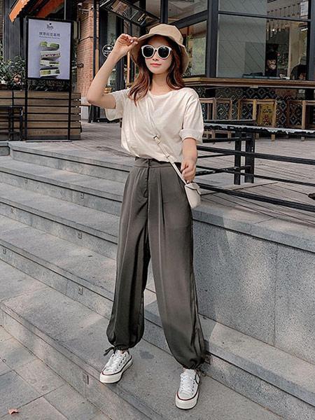 DAKA TRIP女装品牌2019春夏新款流行束脚宽松薄款高腰休闲裤时尚洋气显瘦百搭裤子