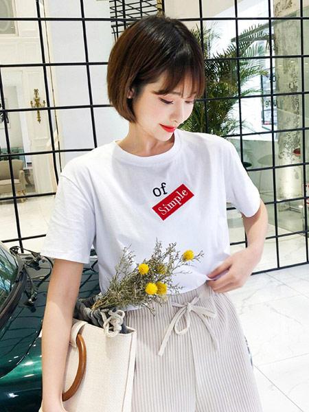 DAKA TRIP女装品牌2019春夏新款洋气百搭时尚韩版宽松圆领短袖t恤