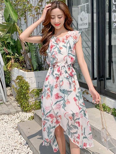 DAKA TRIP女装品牌2019春夏新款韩版气质无袖小清新不规则碎花中长连衣裙