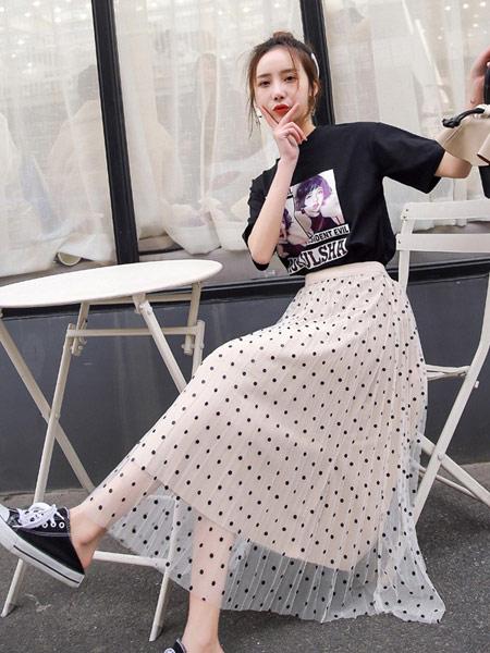 DAKA TRIP女装品牌2019春夏新款韩版波点百搭网纱蕾丝中长款高腰修身半身裙