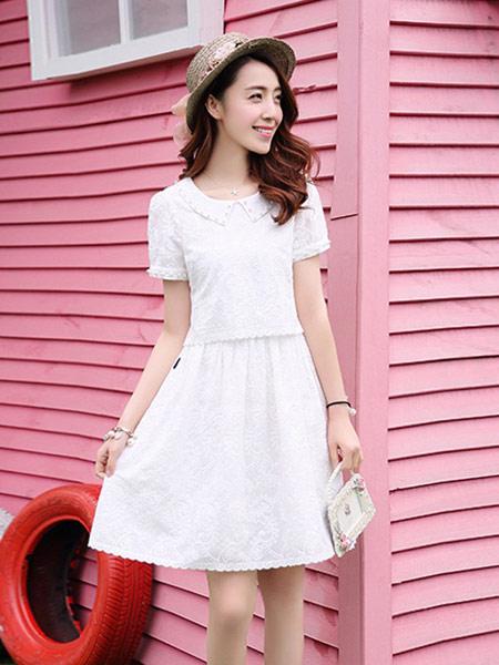 DAKA TRIP女装品牌2019春夏新款韩版甜美白色显瘦蕾丝时尚短袖连衣裙