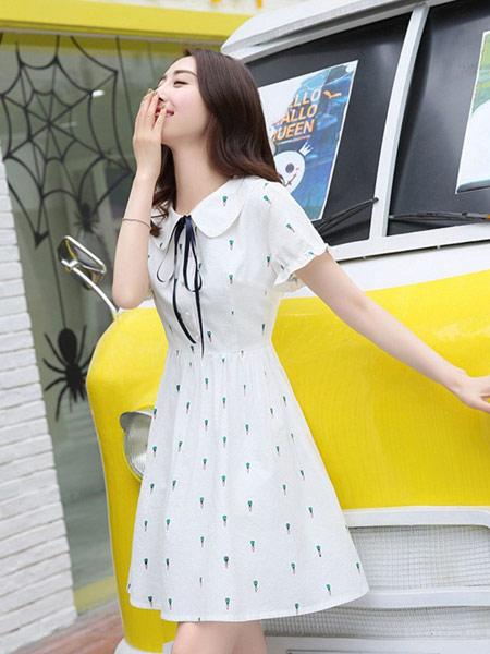 DAKA TRIP女装品牌2019春夏新款小清新韩版甜美修身中长裙