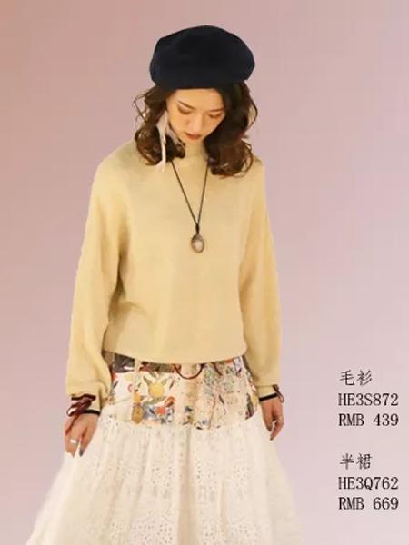 禾佃女装品牌2019秋季新款纯色宽松百搭针织衫毛衣复古显瘦半身裙套装