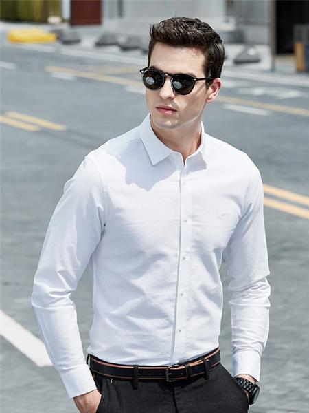 七匹狼男装品牌2019秋季新款商务休闲纯棉长袖衬衫