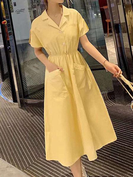 爱尚依尚女装品牌2019春夏新款韩版A字裙收腰显瘦连衣裙