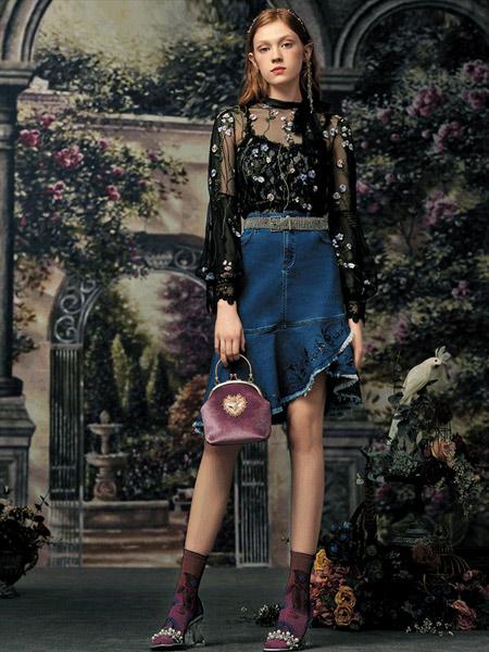 斐格思女装品牌2019秋季新款高腰显瘦荷叶边牛仔裙中长款