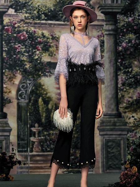 斐格思女装品牌2019秋季新款时尚气质V领修身镂空蕾丝上衣