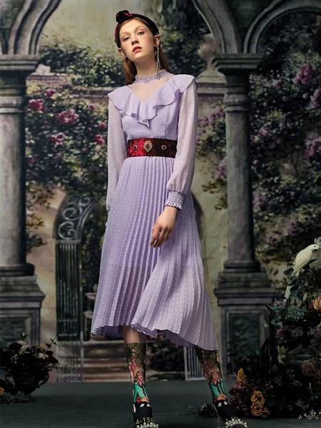 斐格思女装品牌2019秋季新款复古时尚韩版收腰显瘦名媛气质连衣裙