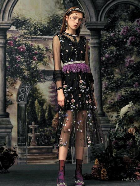 斐格思女装品牌2019秋季新款优雅修身显瘦连衣裙