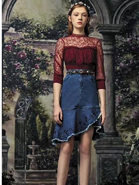 斐格思女装品牌2019秋季新款牛仔半身裙中长款不规则荷叶边a字裙