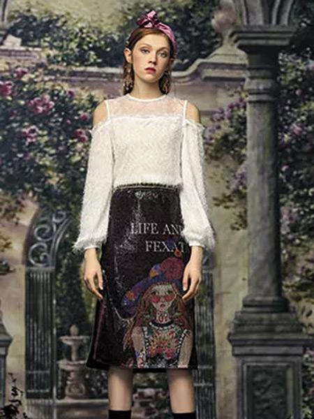 斐格思女装品牌2019秋季新款透视V字领荷叶边打底衫蕾丝衬衫上衣