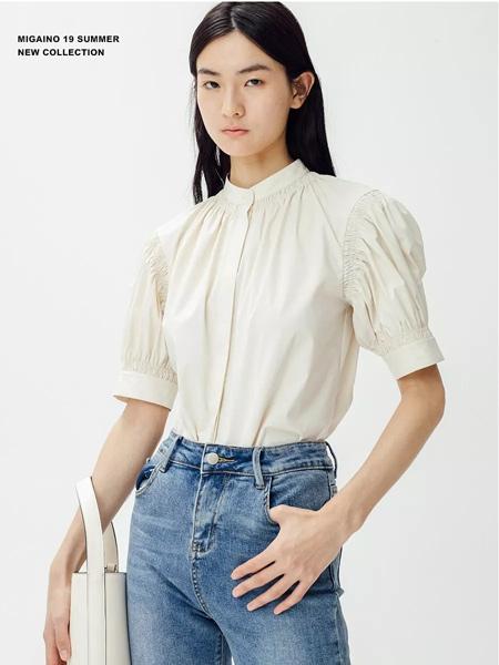 曼娅奴女装品牌2019春夏新款百搭宽松灯笼袖复古上衣