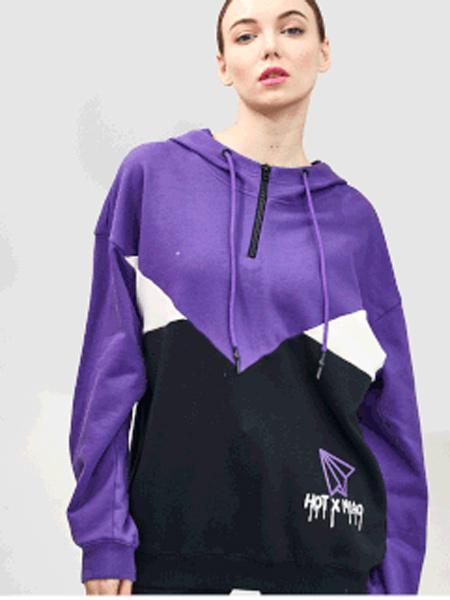 水淼SHUIMIAO女装品牌2019秋季新款潮流宽松拼色连帽卫衣