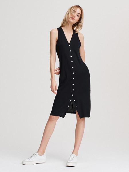 瑞格布恩女装品牌2019春夏新款纯色V领系扣无袖修身显瘦连衣裙