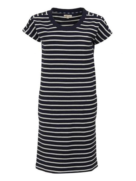 Barbour巴伯尔女装品牌2019春夏新款圆领简约时尚修身条纹中长款连衣裙