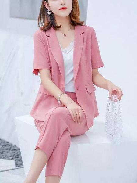 二号街角女装品牌2019春夏新款韩版时尚套装西装外套短袖西服两件套