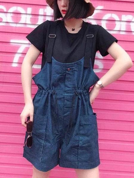 二号街角女装品牌2019春夏新款中长款过膝减龄显瘦条纹牛仔吊带背带裙子潮