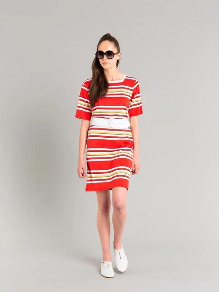 AGNES B.(阿涅斯)女装品牌2019春夏新款简约气质条纹棉质短袖连衣裙