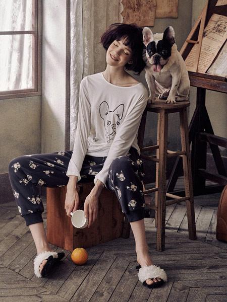 Lavomee娜摩米内衣品牌2019秋季新款全棉质甜美卡通休闲家居服套装