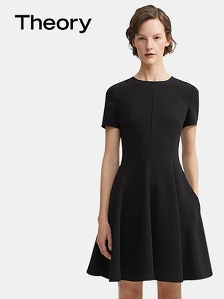 希尔瑞休闲品牌2019秋季新款圆领短袖收腰大摆显瘦简约时尚大气连衣裙