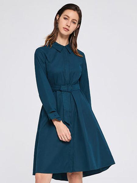 ...minette女装品牌2019秋季新款复古翻领修身显瘦中长款雪纺连衣裙