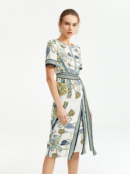 朗姿女装品牌2019春夏新款中长裙高腰修身圆领短袖气质印花连衣裙
