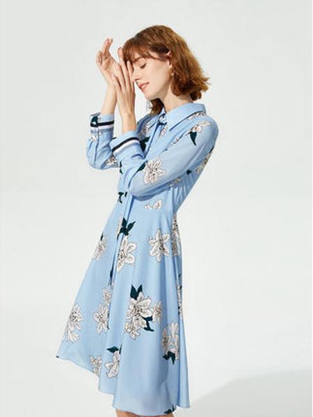 莱茵女装品牌2019秋季新款仙女超仙小清新中长款翻领收腰连衣裙