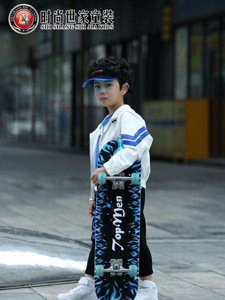 时尚世家童装品牌2019秋冬韩版白条运动儿童两件套范