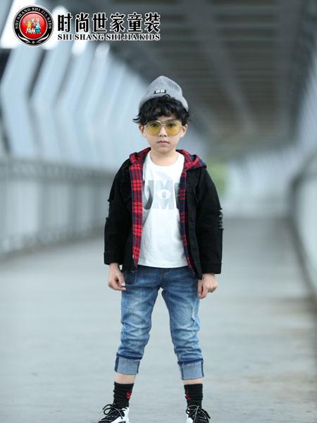 时尚世家童装品牌2019秋冬纯棉格子长袖衬衫中大童儿童翻领衬衣