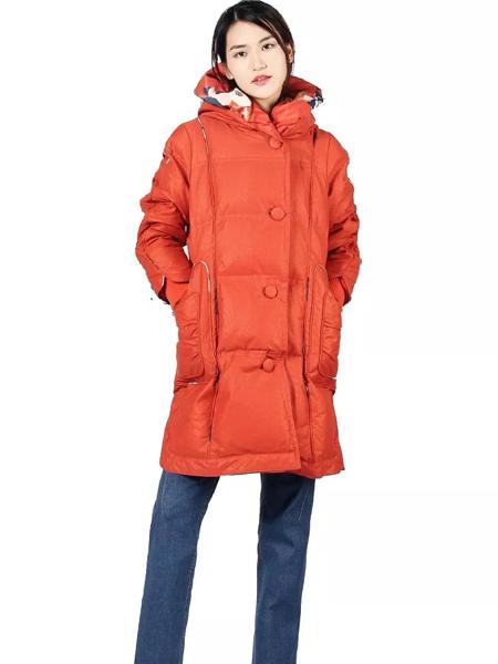 秀蓓儿女装品牌2019秋季新款时尚修身带帽羽绒服中长款外套