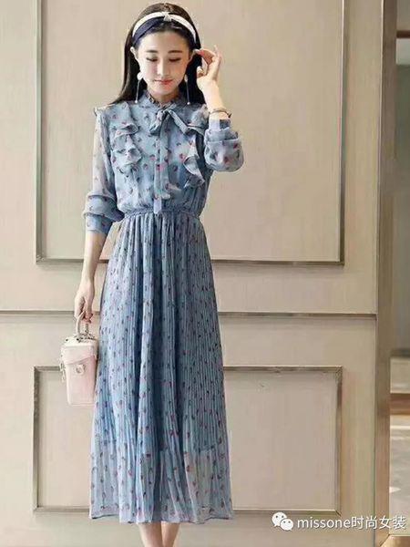 MISS ONE女装品牌2019秋季新款通勤复古温柔风修身显瘦碎花雪纺印花连衣裙