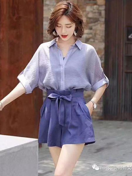 MISS ONE女装品牌2019秋季新款衬衫吊带高腰阔腿短裤韩版套装