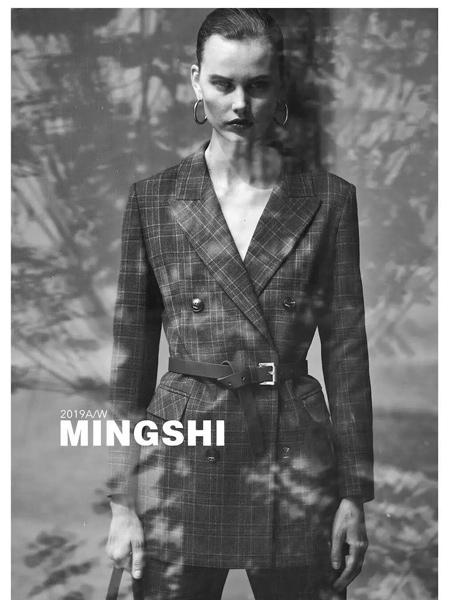 名实女装品牌2019秋季新款时尚双排扣修身格子西装外套