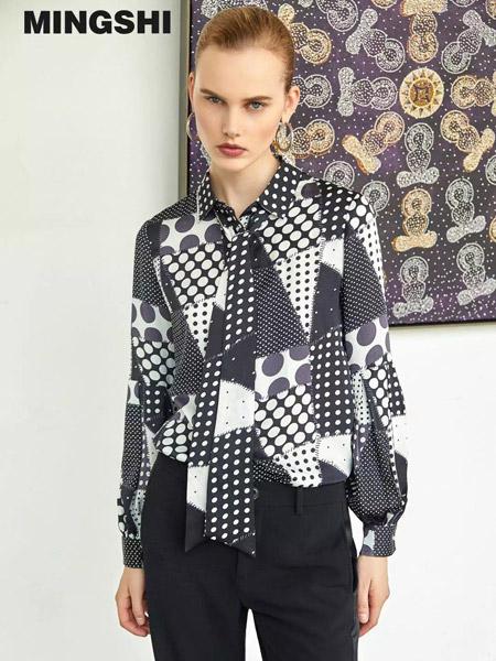 名实女装品牌2019秋季新款时尚休闲衬衫上衣拼接洋气打底衫衬衣