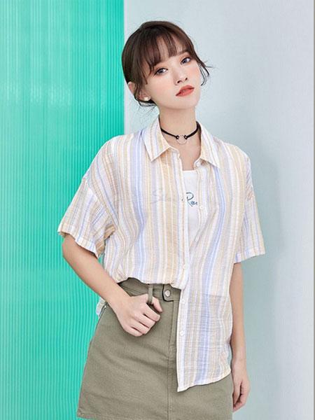 新一檬女装品牌2019春夏百搭休闲短袖宽松假两件衬衫甜美