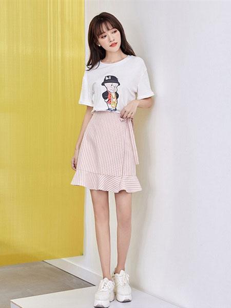 新一檬女装品牌2019春夏韩版不规则复古半身裙百搭中长款裙