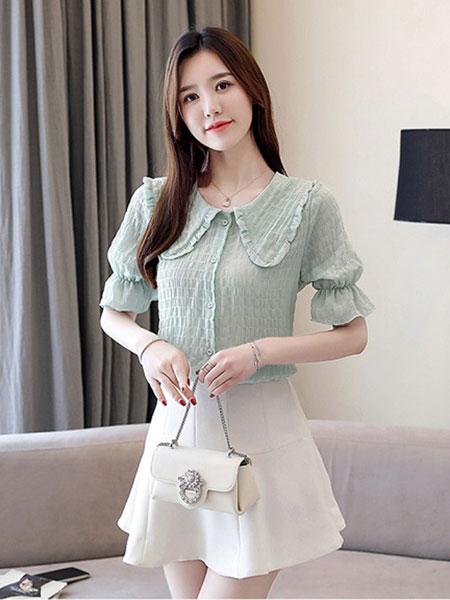 新一檬女装品牌2019春夏宽松上衣白色衬衫