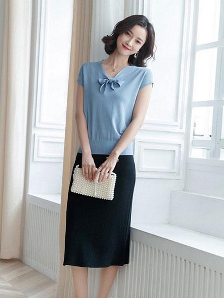 新一檬女装品牌2019春夏薄款短袖V领天丝时尚蝴蝶结宽松上衣