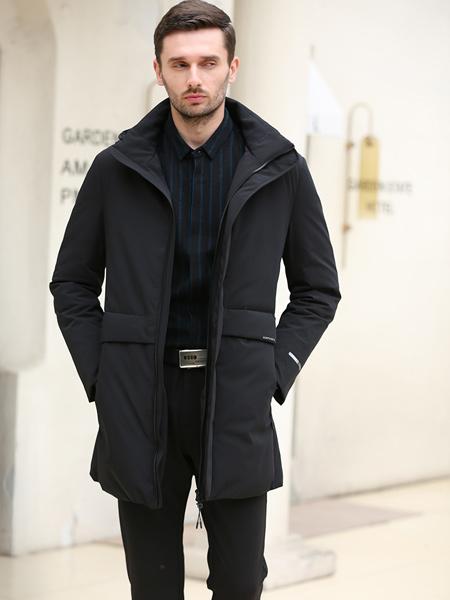 萨卡罗S.ALCAR男装品牌2019秋冬新款时尚商务休闲大码带帽中长款加厚羽绒服