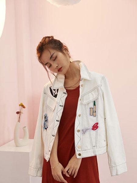 宝洛莎女装品牌2019春夏个性贴标小清新牛仔衣修身韩版牛仔上衣