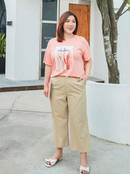 纤莉秀女装品牌2019春夏新款大码胖mm韩版直筒阔腿高腰遮肉显瘦裤子