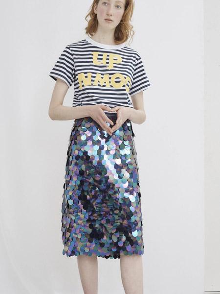 彼得・詹森女装品牌新款松紧背带高腰显瘦中长款美人鱼裙半身裙+网红短袖T恤