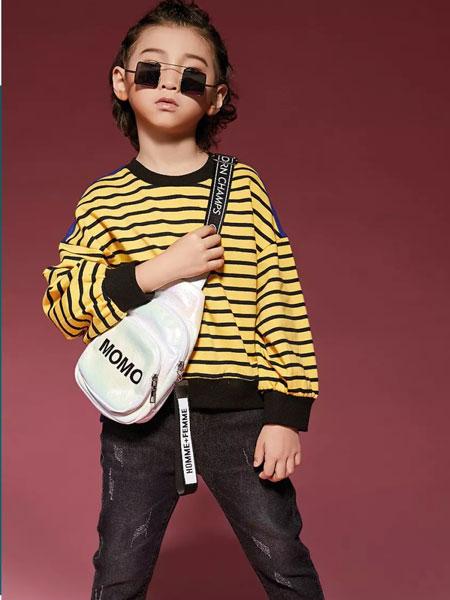 玛玛米雅童装品牌2019秋季条纹不规则长袖卫衣字母条纹印花
