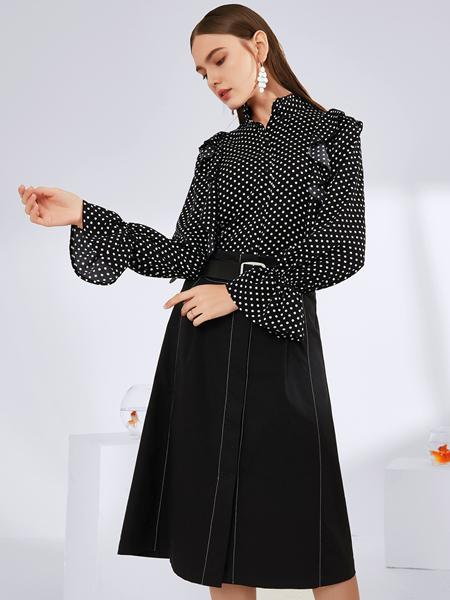 真斯贝尔女装品牌2019秋冬新款气质复古时尚波点印花雪纺衬衫