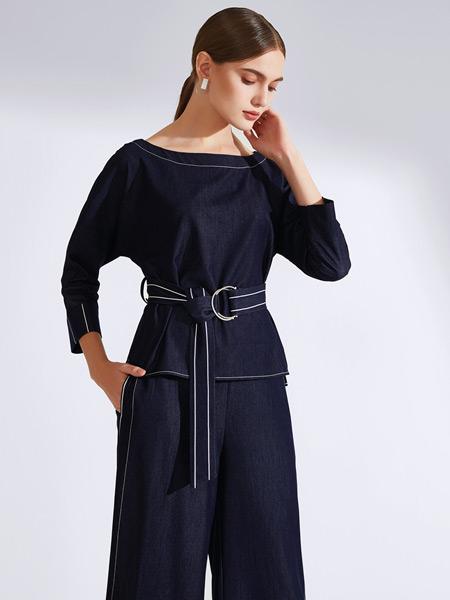 真斯贝尔女装品牌2019秋冬新款时尚套装系带收腰显瘦圆领T恤开叉阔腿长裤两件套