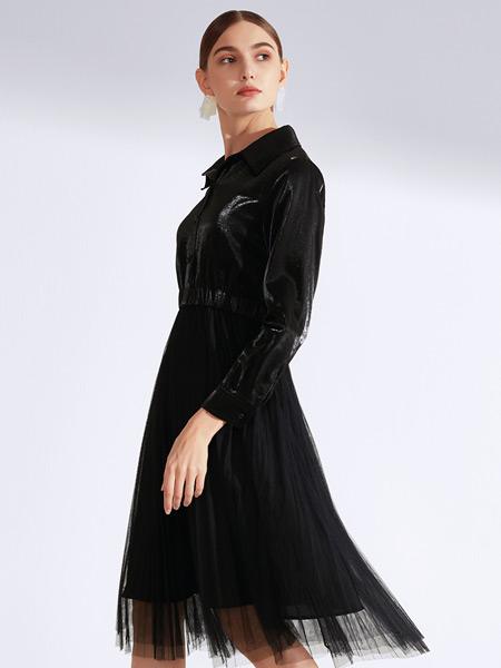 真斯贝尔女装品牌2019秋冬新款蕾丝圆领灯笼袖系带连衣裙