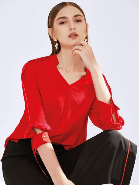 真斯贝尔女装品牌2019秋冬新款百搭宽松修身纯色长袖V领衬衫上衣