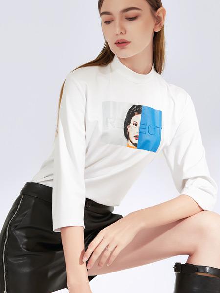 真斯贝尔女装品牌2019秋冬新款韩版宽松圆领印花百搭休闲T恤