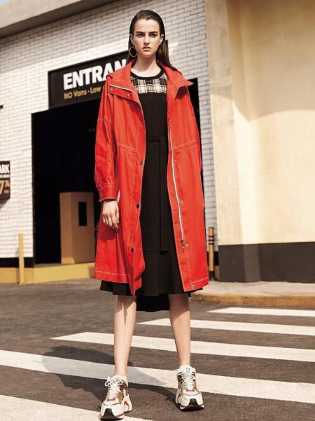 独一无二女装品牌2019秋季新款韩版长袖纯色中长款风衣女连帽收腰系带外套